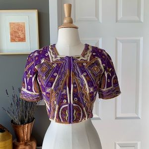 Vintage embroidered Indian beaded choli top 1524